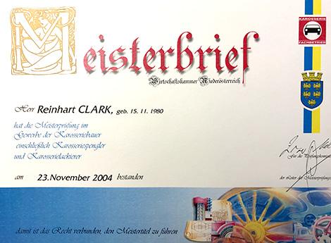 Meisterbrief Clark